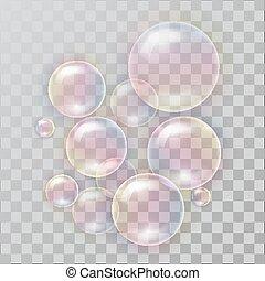 arcobaleno, bolle, sapone, riflessione, realistico