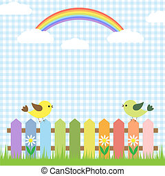 arcobaleno, carino, uccelli