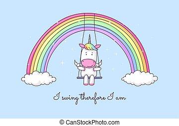 arcobaleno, cartone animato, oscillazione, unicorno
