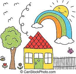 arcobaleno, casa, bambino, disegno