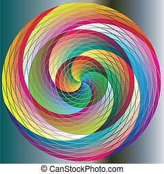 arcobaleno, cerchi, variopinto, piroetta