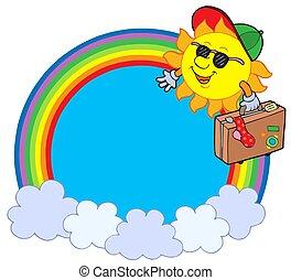 arcobaleno, cerchio, viaggiatore, sole