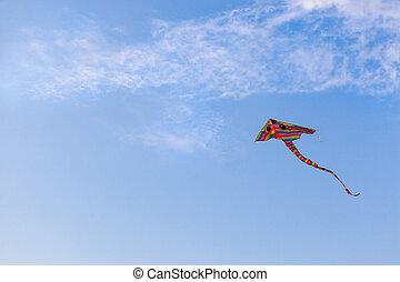 arcobaleno, cielo blu, cervo volante volo