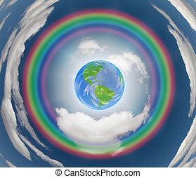 arcobaleno, circondato, terra