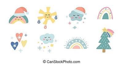 arcobaleno, collection., albero, nubi, illustrazione, vettore, bambini, vacanza, trendy, carino, disegno, natale, bambino, vivaio, heart., sole, elements., cappello, mano, disegnato, shower., fiocchi neve, santa, stella