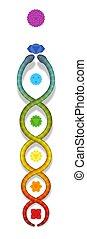 arcobaleno colorato, serpente, kundalini, simbolo, serpente, chakras