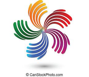 arcobaleno, colore mani, logotipo