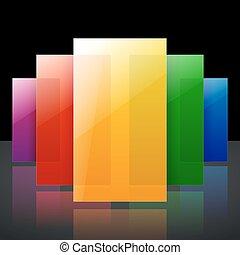 arcobaleno, colorito, baluginante, astratto, infographic, nero, riflessioni, fondo, rettangoli, trasparente