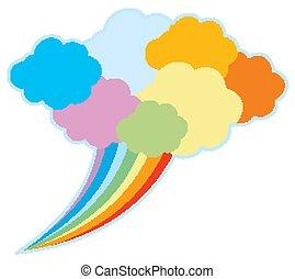 arcobaleno, colorito, nuvola, discorso
