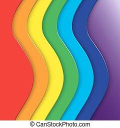 arcobaleno, curva, astratto, linee, vettore, fondo