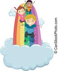 arcobaleno, diapositiva, bambini, scorrevole