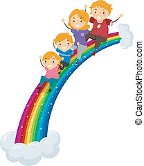 arcobaleno, diapositiva, scorrevole, famiglia