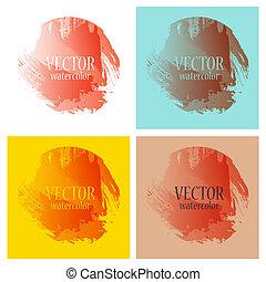 arcobaleno, dipinto, luminoso, acquarello, macchie, colori, vettore