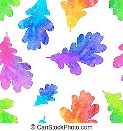 arcobaleno, dipinto, modello, foglie, quercia, seamless, acquarello