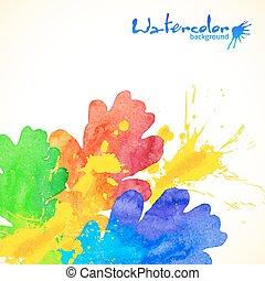 arcobaleno, dipinto, quercia, acquarello, colori, schizzi