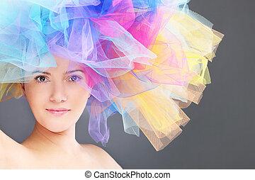 arcobaleno, donna, cappello