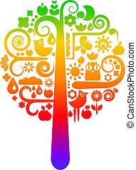 arcobaleno, ecologico, albero, icone
