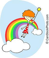 arcobaleno, fata, sopra