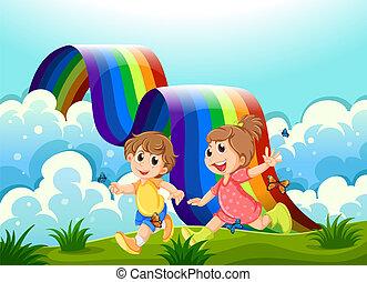 arcobaleno, felice, bambini, gioco, cima colle
