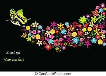 arcobaleno, fiori, vettore, butterfly.
