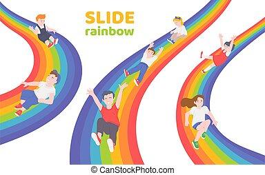 arcobaleno, giù, bambini, diapositiva, scorrevole, felice, insieme