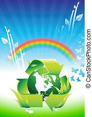 arcobaleno, globo, conservazione, fondo, ambientale