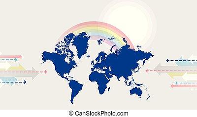 arcobaleno, grigio, sole, illustrazione, pianeta, mappa