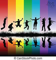 arcobaleno, gruppo, sopra, saltare, fondo, strisce, bambini