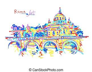 arcobaleno, italia, originale, colori, famoso, roma, posto, disegno