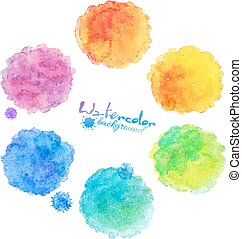 arcobaleno, macchie, collezione, acquarello, colori, vettore