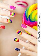 arcobaleno, manicure.