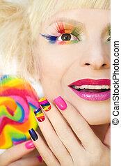 arcobaleno, manicure, makeup.