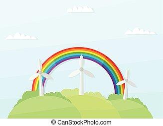 arcobaleno, mulini vento, paesaggio