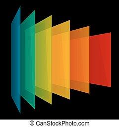 arcobaleno, nero, prospettiva, fondo, infographics, rettangoli, trasparente, 3d