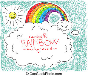 arcobaleno, nubi, fondo