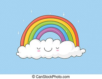 arcobaleno, nuvola