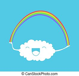 arcobaleno, nuvola, illustrazione