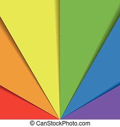 arcobaleno, organizzato, fogli, colorito, effect., astratto, carta da parati, spettro, ricoprendo, fan., carta, colori, vettore, fondo, uggia, felice