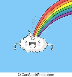 arcobaleno, pooping, nuvola, unicorno