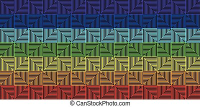 arcobaleno, quadrato, astratto, -, illustrazione, vettore, fondo, linea, geometrico