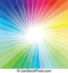 arcobaleno, raggio, esplosione, fondo, luci