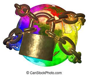 arcobaleno, rottura, terra, catena, dorato