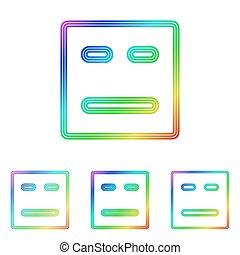 arcobaleno, set, faccia, disegno, logotipo, linea