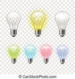 arcobaleno, set, lampadine, luce, fondo, trasparente