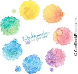 arcobaleno, set, macchie, acquarello, colori, vettore
