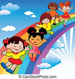 arcobaleno, slide., bambini
