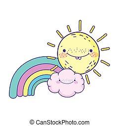 arcobaleno, sole, carattere, decorazione, cartone animato, nubi, kawaii