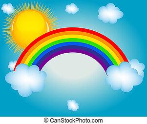 arcobaleno, sole, illustrazione, vettore, fondo, nuvola