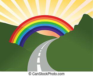 arcobaleno, soleggiato, paesaggio