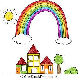 arcobaleno, sopra, disegno, case